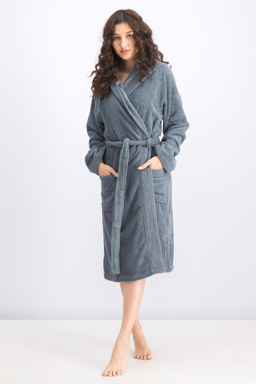 Women's Hooded Bathrobe, Flannell Grey