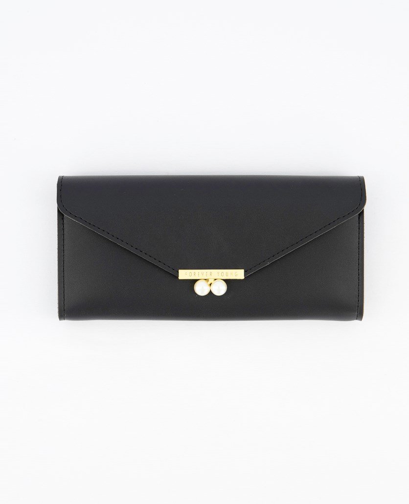 Women's Synthetic Leather Wallet, Black