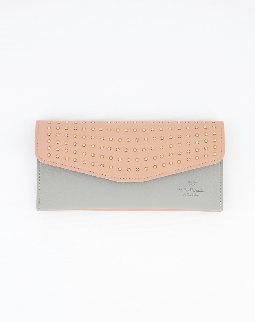 Women's Studded Wallet, Pink/Grey