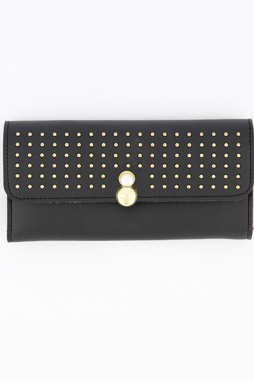 Women's Studded Wallet, Black