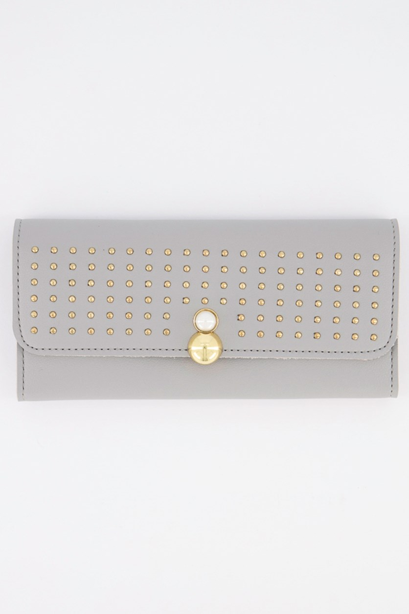 Women's Stud Synthetic Leather Wallet, Grey