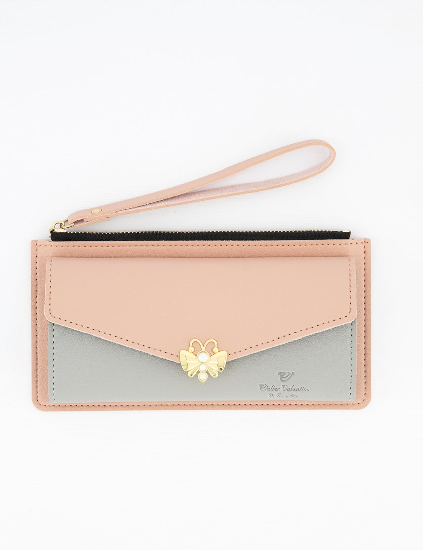 Women's Long Zip Wallet, Blush/Light Grey