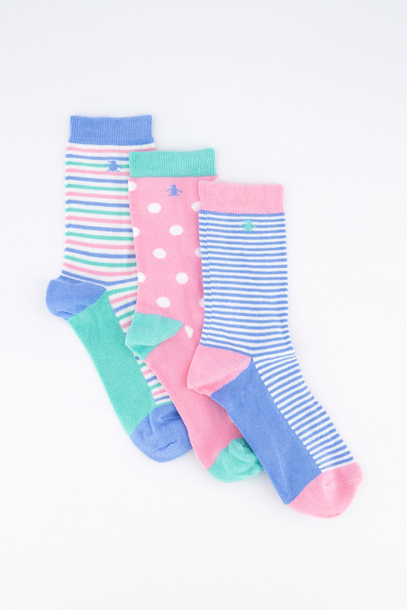 Girls Striped 3 Pairs Socks, Blue/Pink Stripe