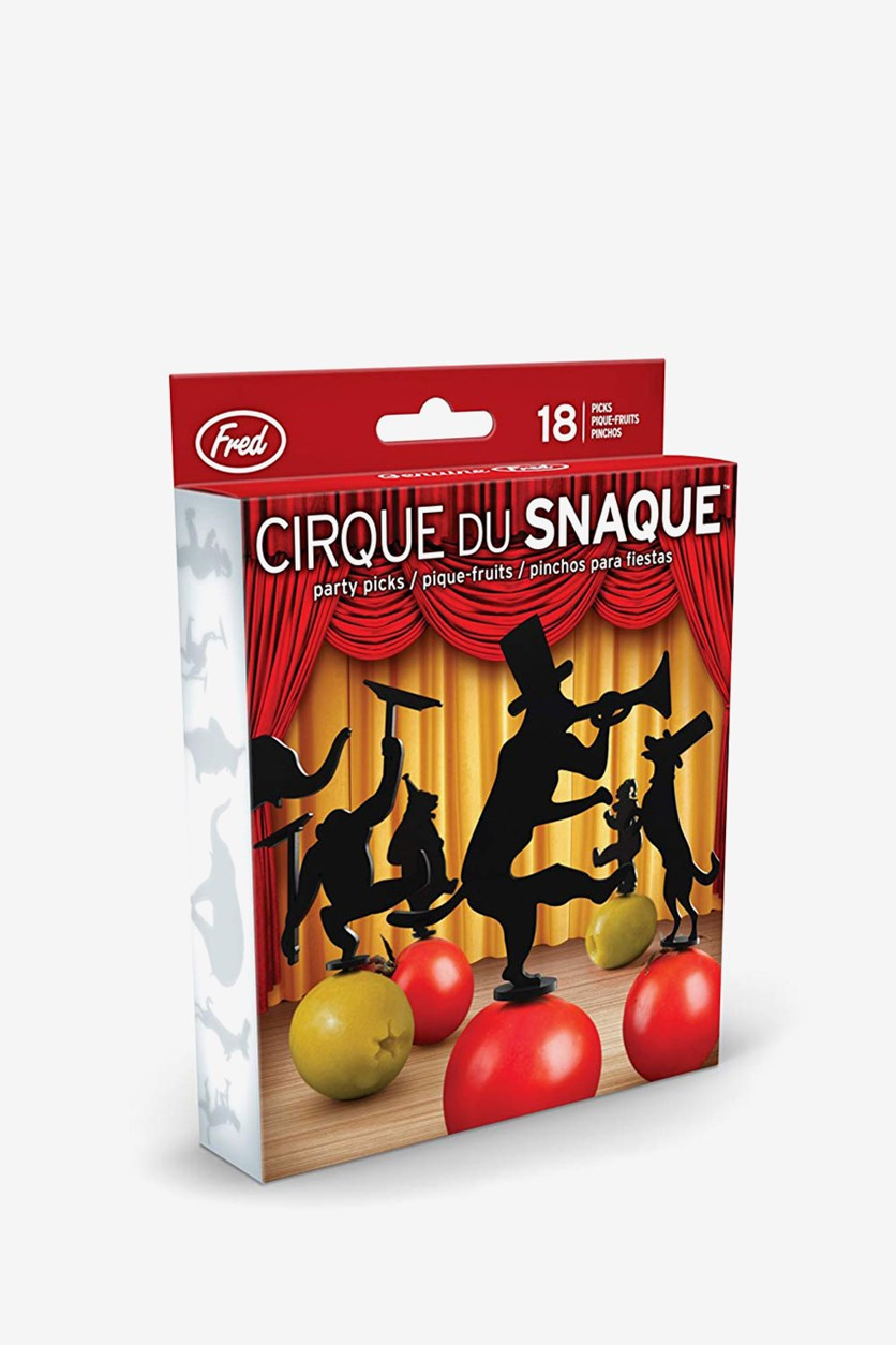 Cirque Du Snaque Circus Party Picks, Set of 18, Black