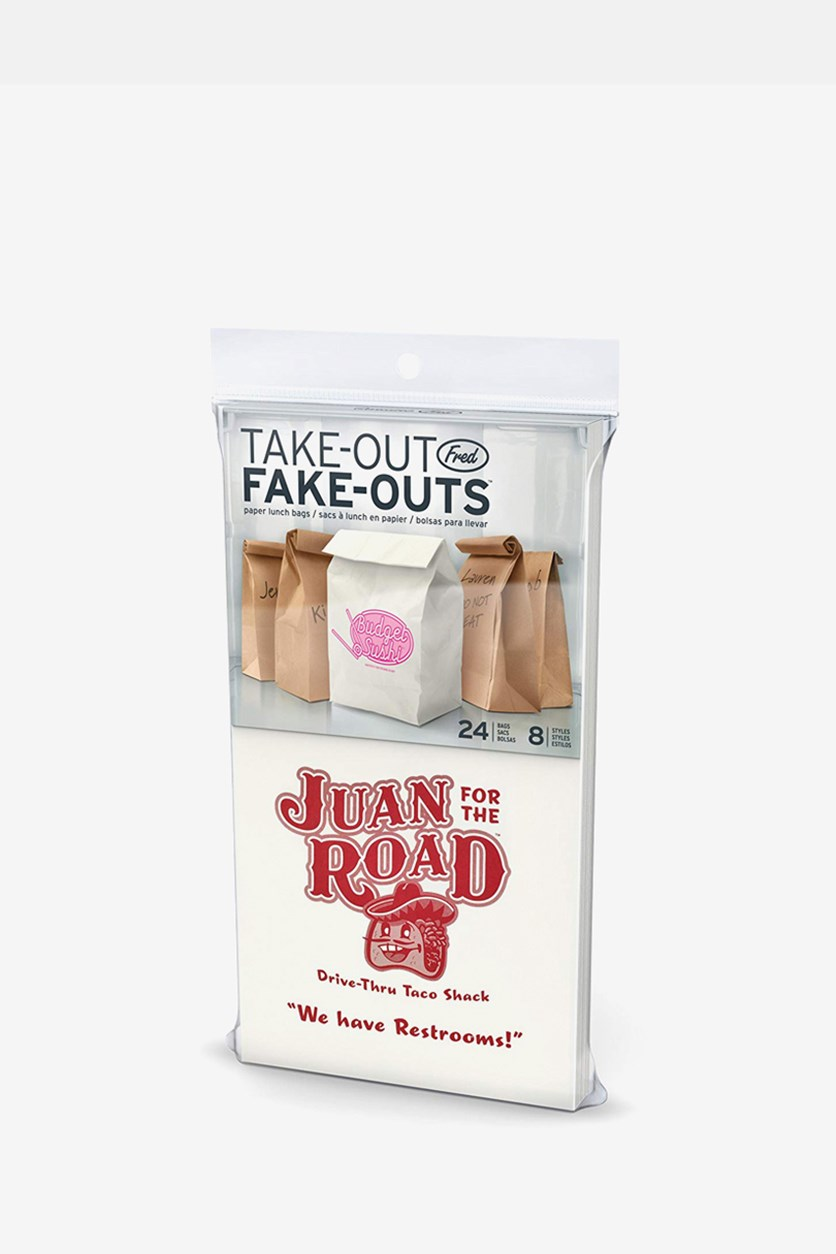 Take-Out Fake -Outs Lunch Bags, 24 Count, White/Brown