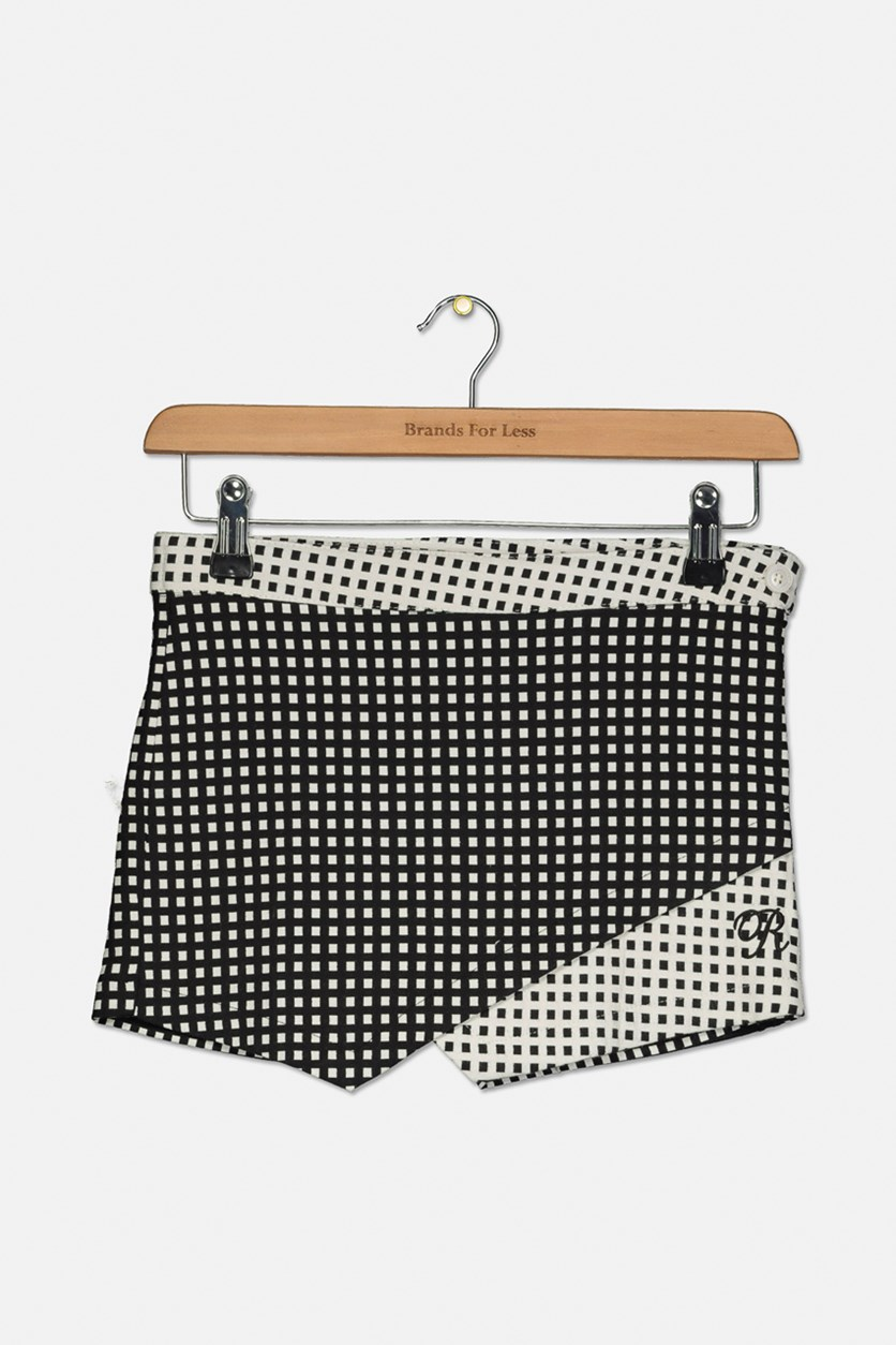 Girls Square Print Short, Black/White