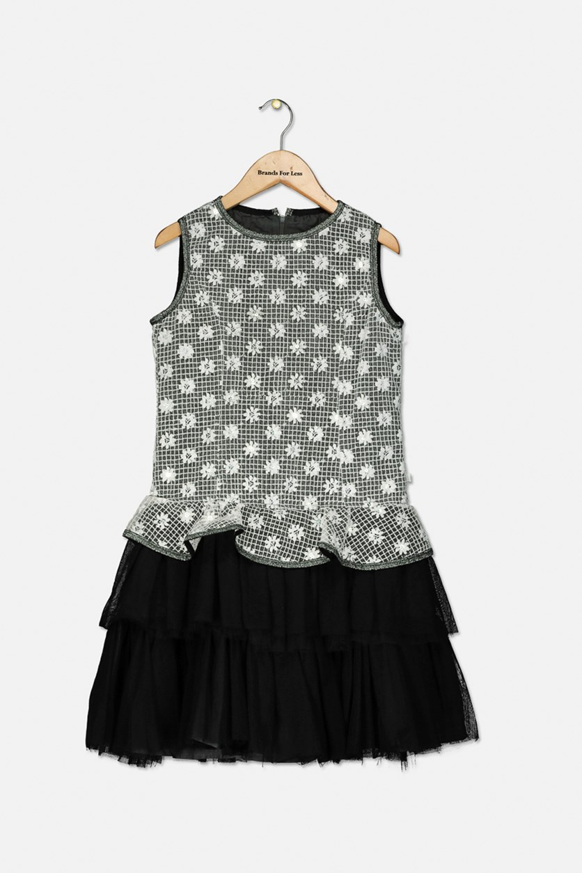Girls Floral Dress, Black/White