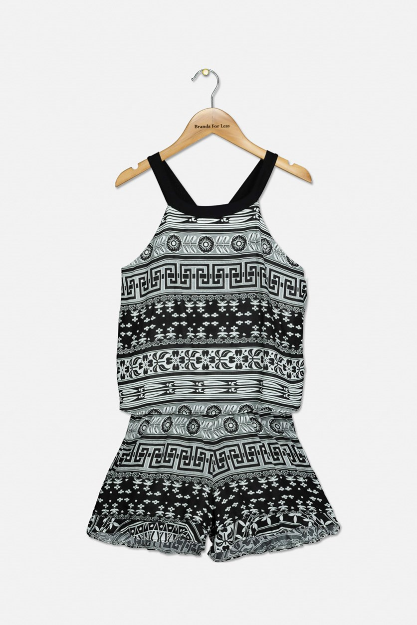 Girls Printed Romper, Black/White