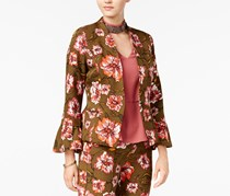 XOXO Womens Floral Print Ruffle Sleeves One-Button Blazer, Olive