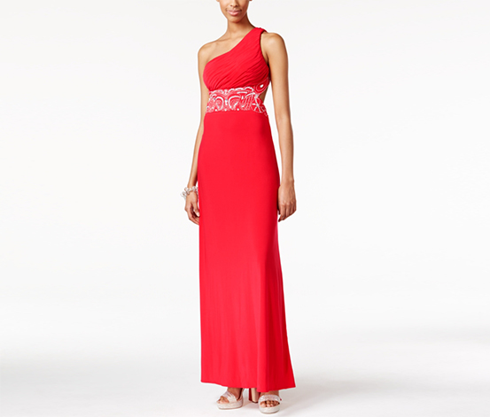 Blondie Nites Women's Embellished Ruched One-Shoulder Gown, Red