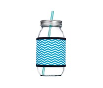 25 Oz Glass Drinking Jar With Colored Straw, Blue