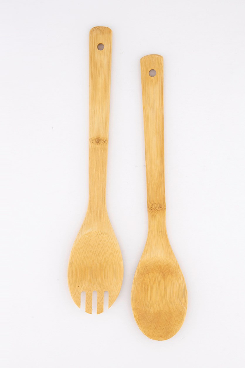 Bamboo Salad Cutlery, Brown