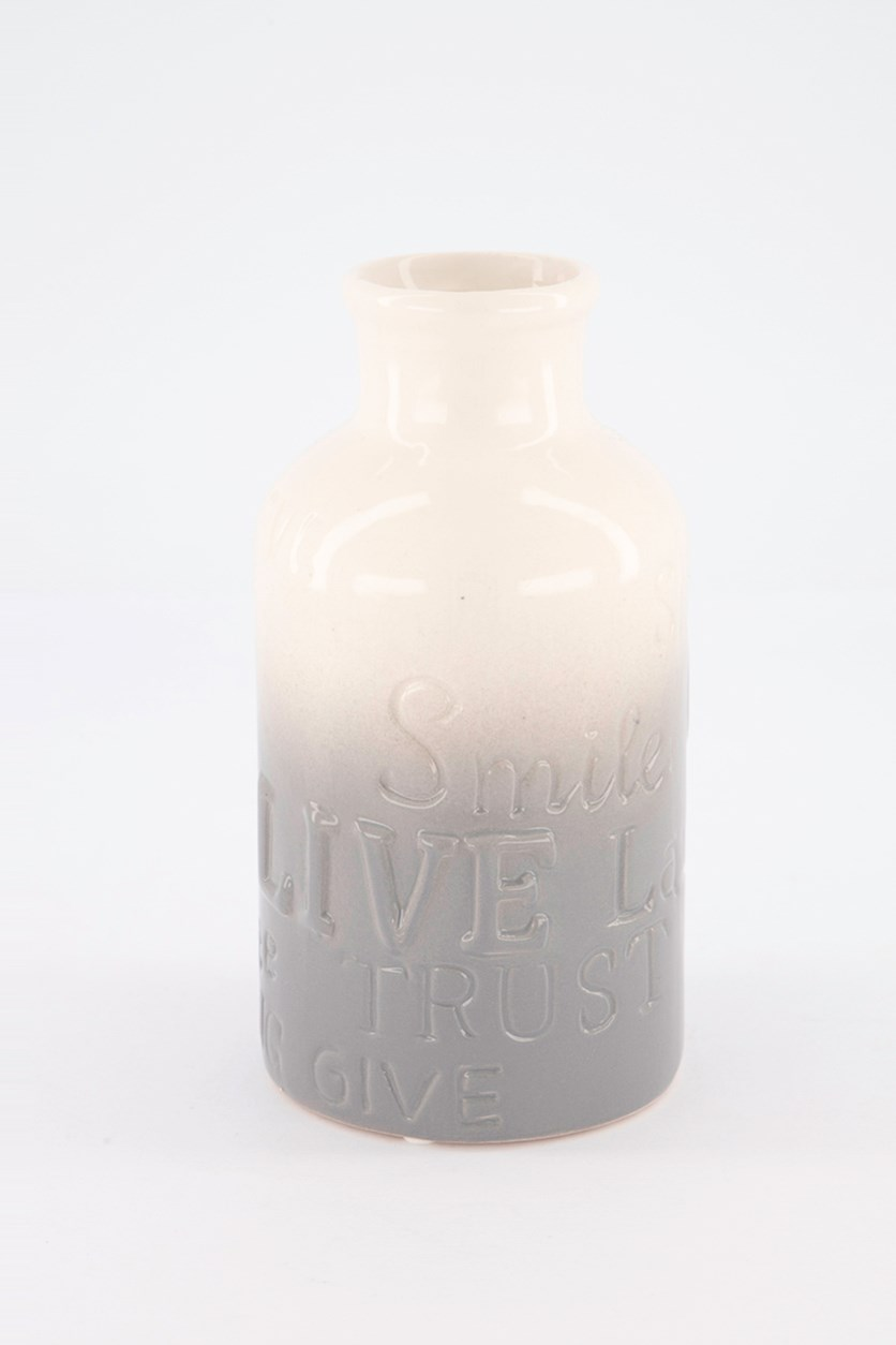 Dolomite Bottle Vase, Cream/Grey