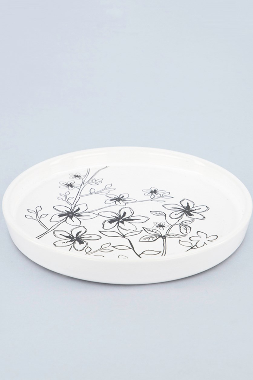 Candle Plate with Floral Print, White