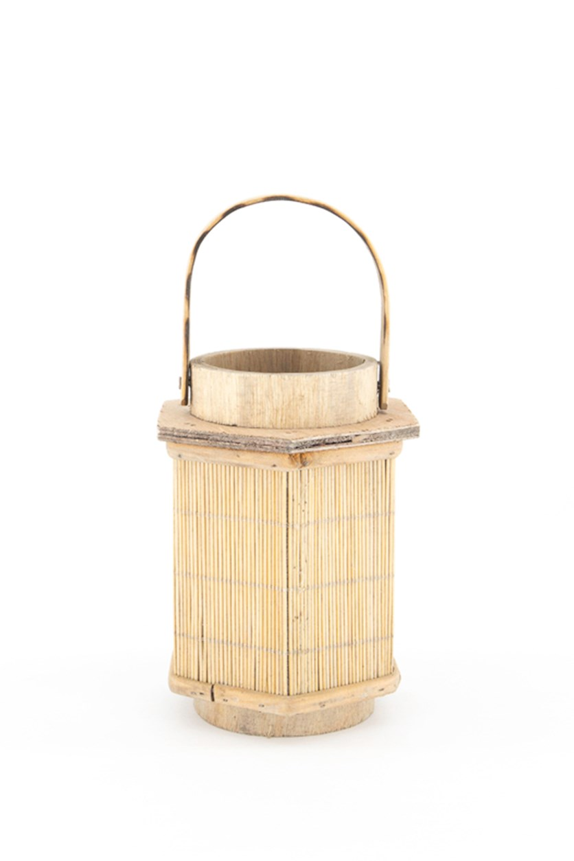 Wood With Handle Lantern, Beige