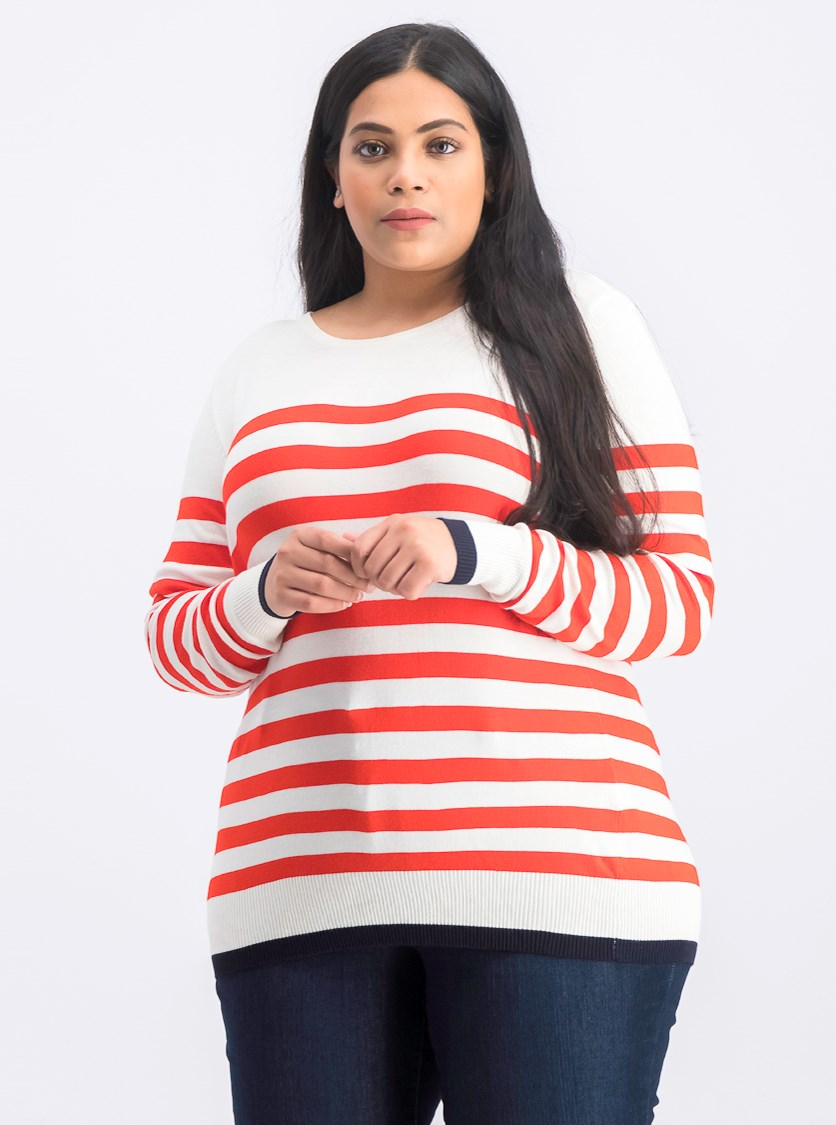 Women's Stripe Sweater, Coral