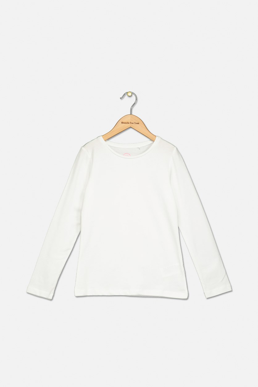 Girls Plain Top, White