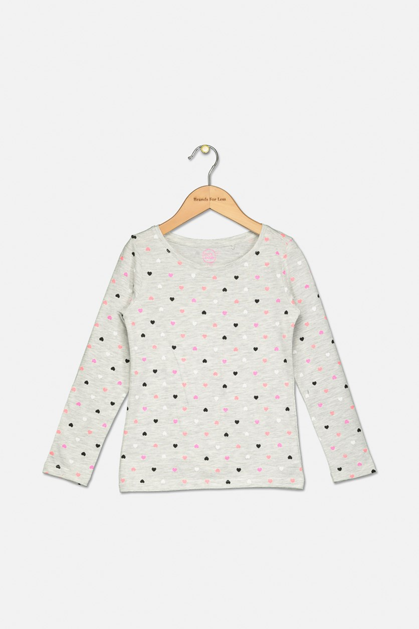 Girls Heart Print Long Sleeve Top, Grey