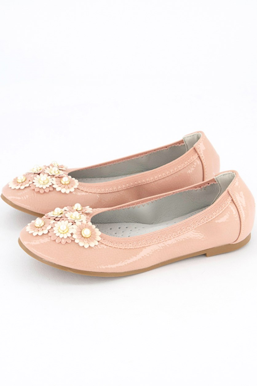 Kids Girls Pearl Embellished Floral Shoes, Peach