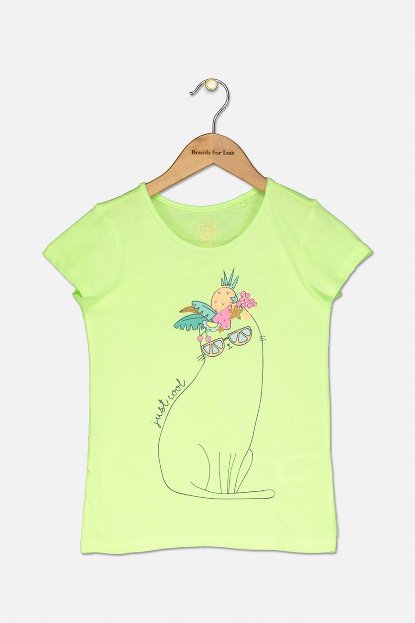 Little Girls Graphic Top, Neon Green