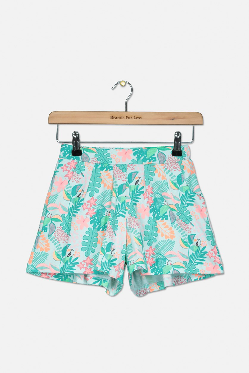 Kids Girls 2 Side Pocket Short, Green