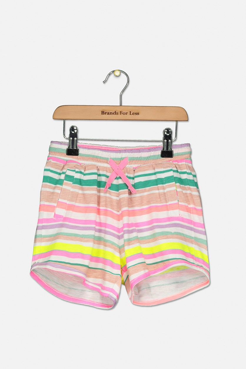 Girl's Pull On Short, Pink/Green/White combo