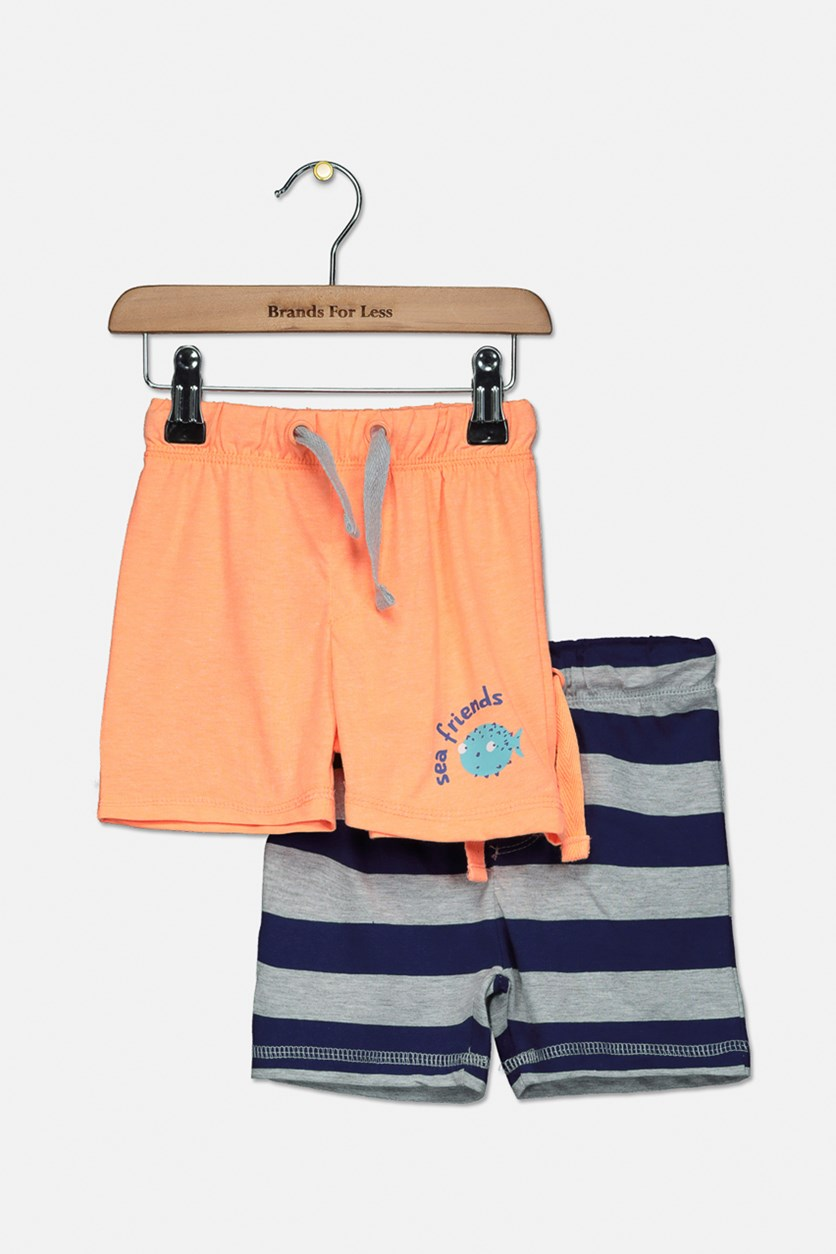 Toddler Boys 2-Pack Drawstrings Short, Orange/Navy/Grey