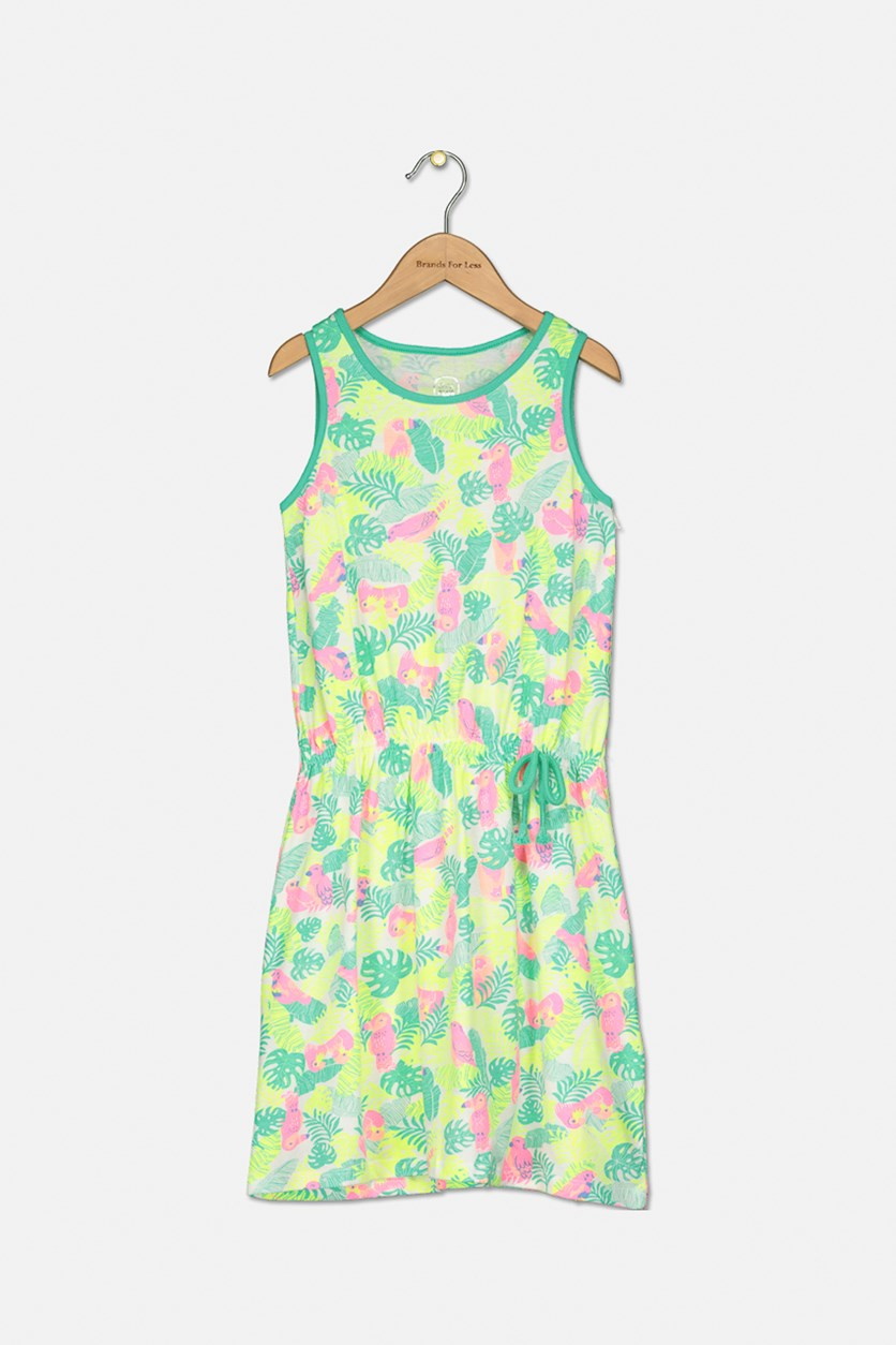 Kid's Girl's Sleeveless Dress, Neon Green Combo