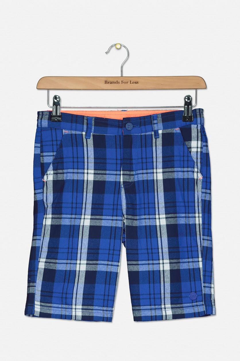 Kids Boys Plaid Basic Short, Blue Combo
