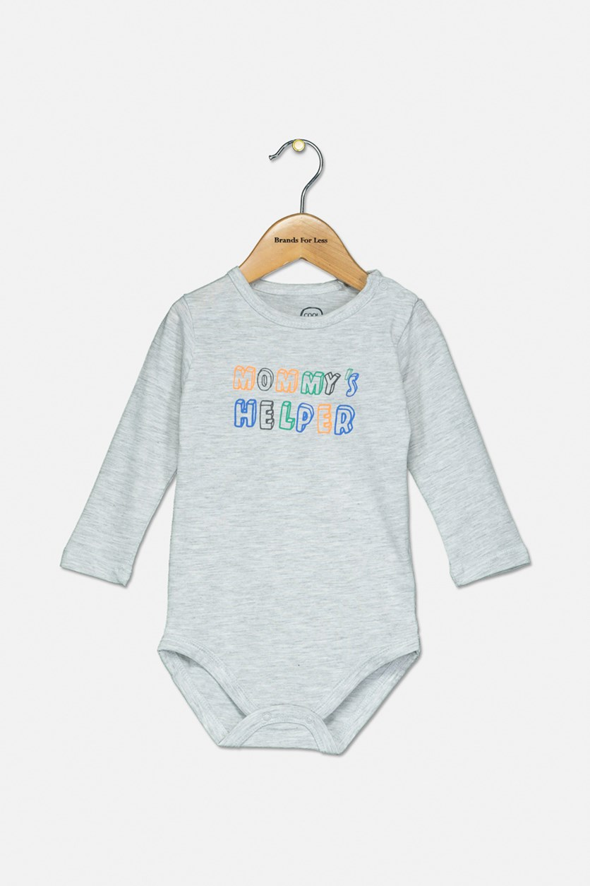 Toddler Boys Mommy's Helper Print Bodysuit, Grey