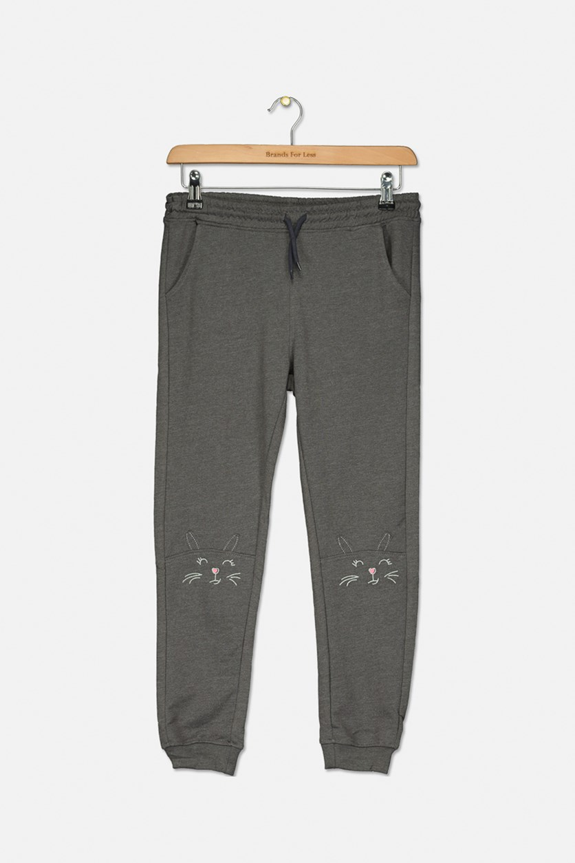 Girl's Drawstring Pants, Charcoal Heather