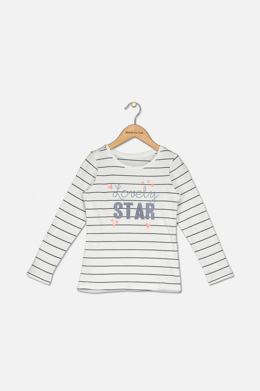 Toddler Lovely Star Stripe Print Top, White