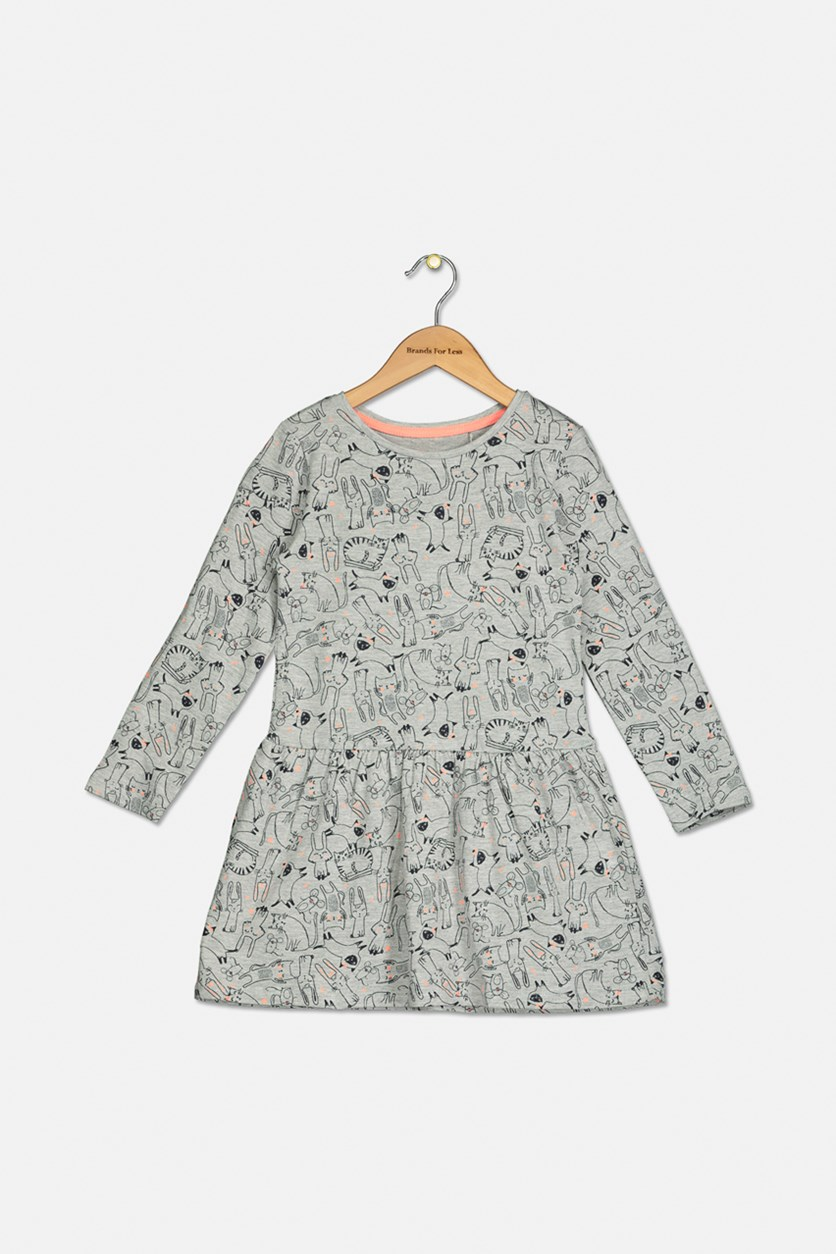 Girls Hello Kitty Printed Dress, Grey