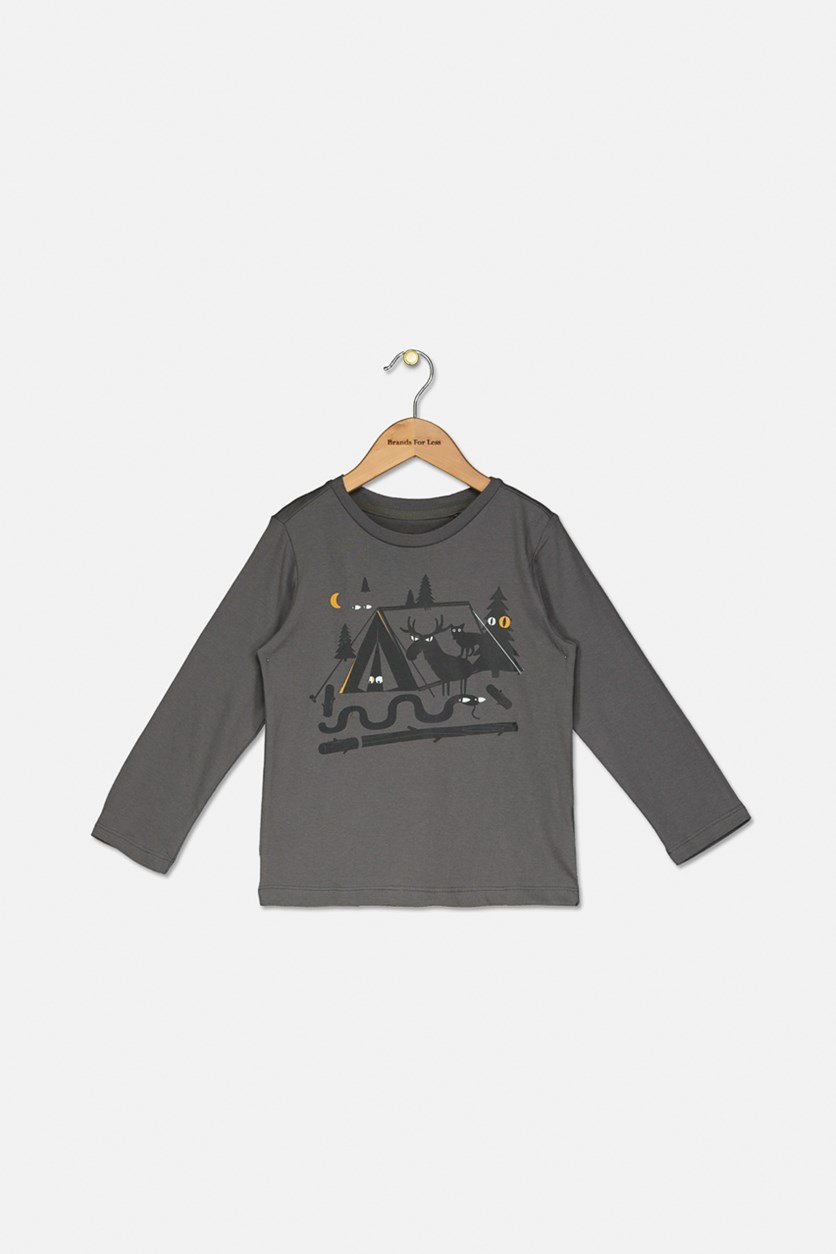 Little Boy's Graphic Printed Top, Charcoal