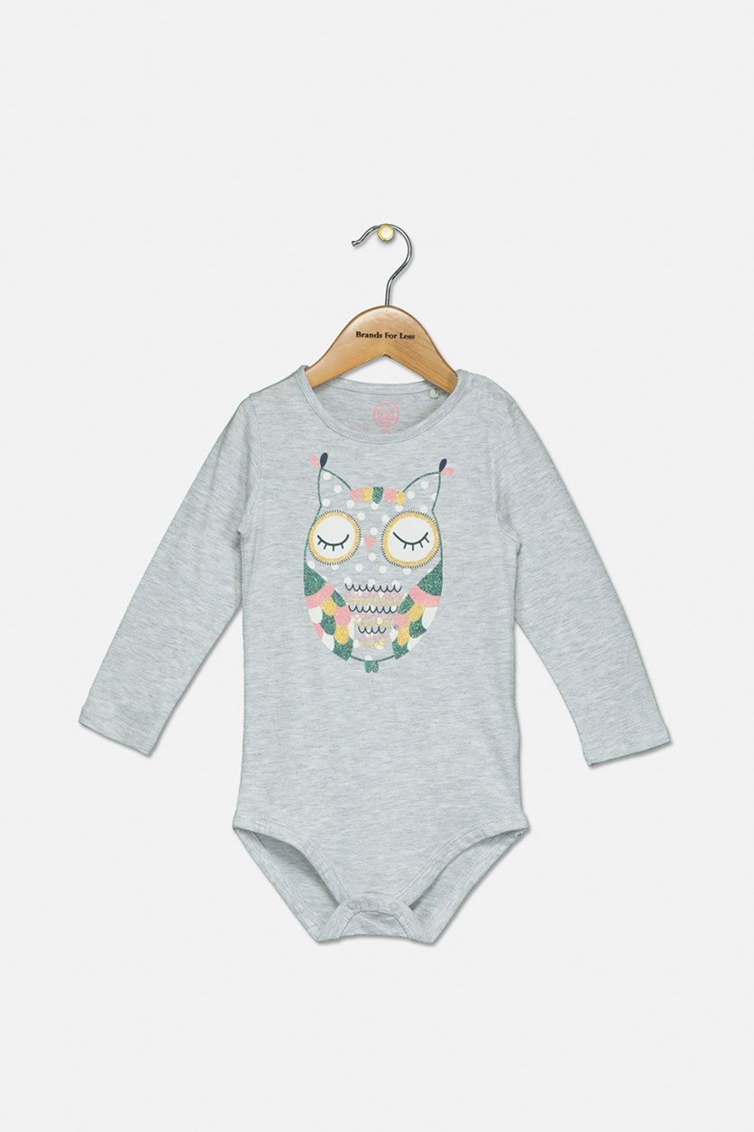 Toddler Girls Glittery Graphic Print Bodysuit, Grey