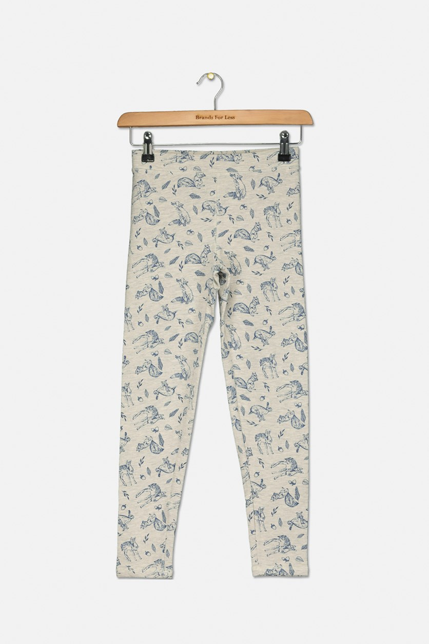 Kids Girls Animal Print Leggings, Grey