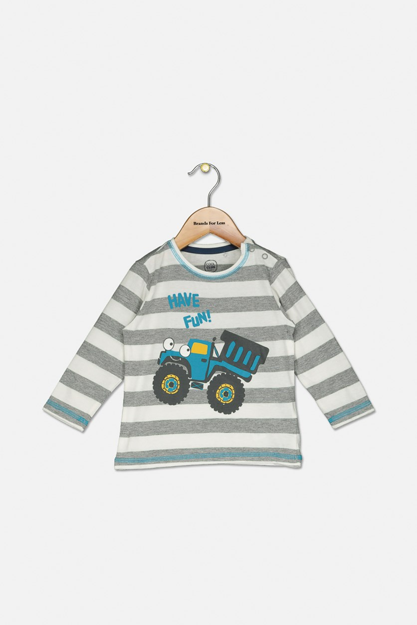 Toddler Boys Striped Graphic Top, Grey/White