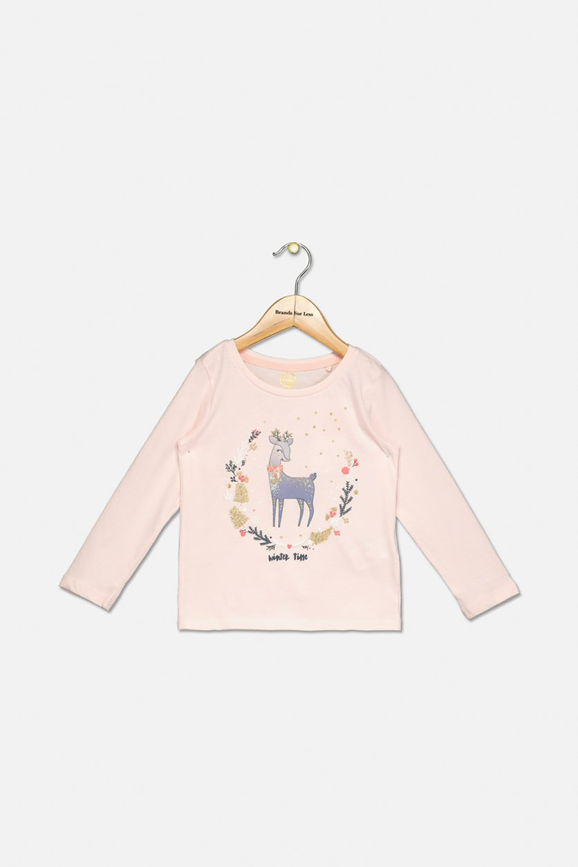 Little Girl's Long Sleeve Top, Pink