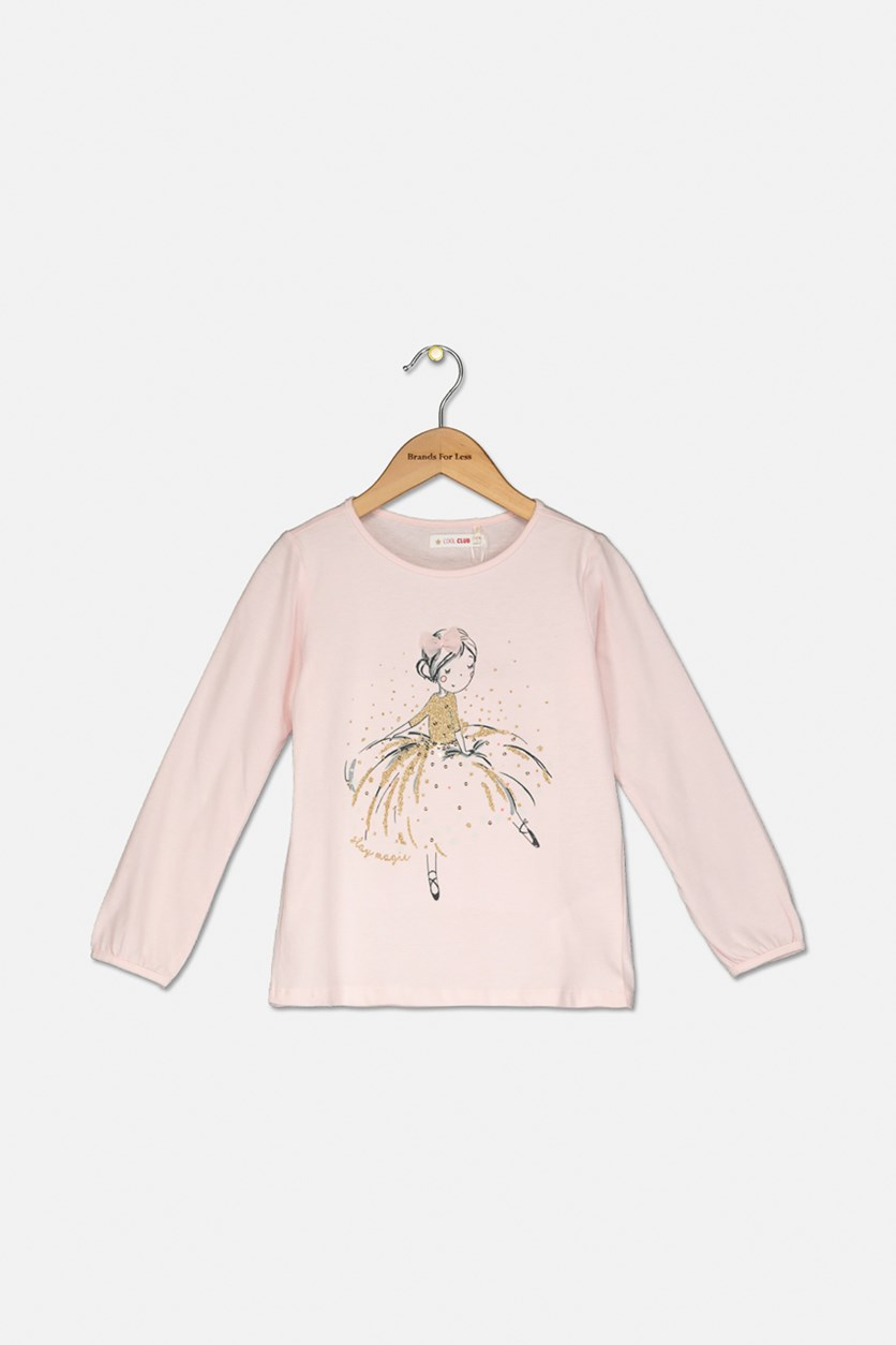 Kids Girl's Graphic Printed Top, Pink