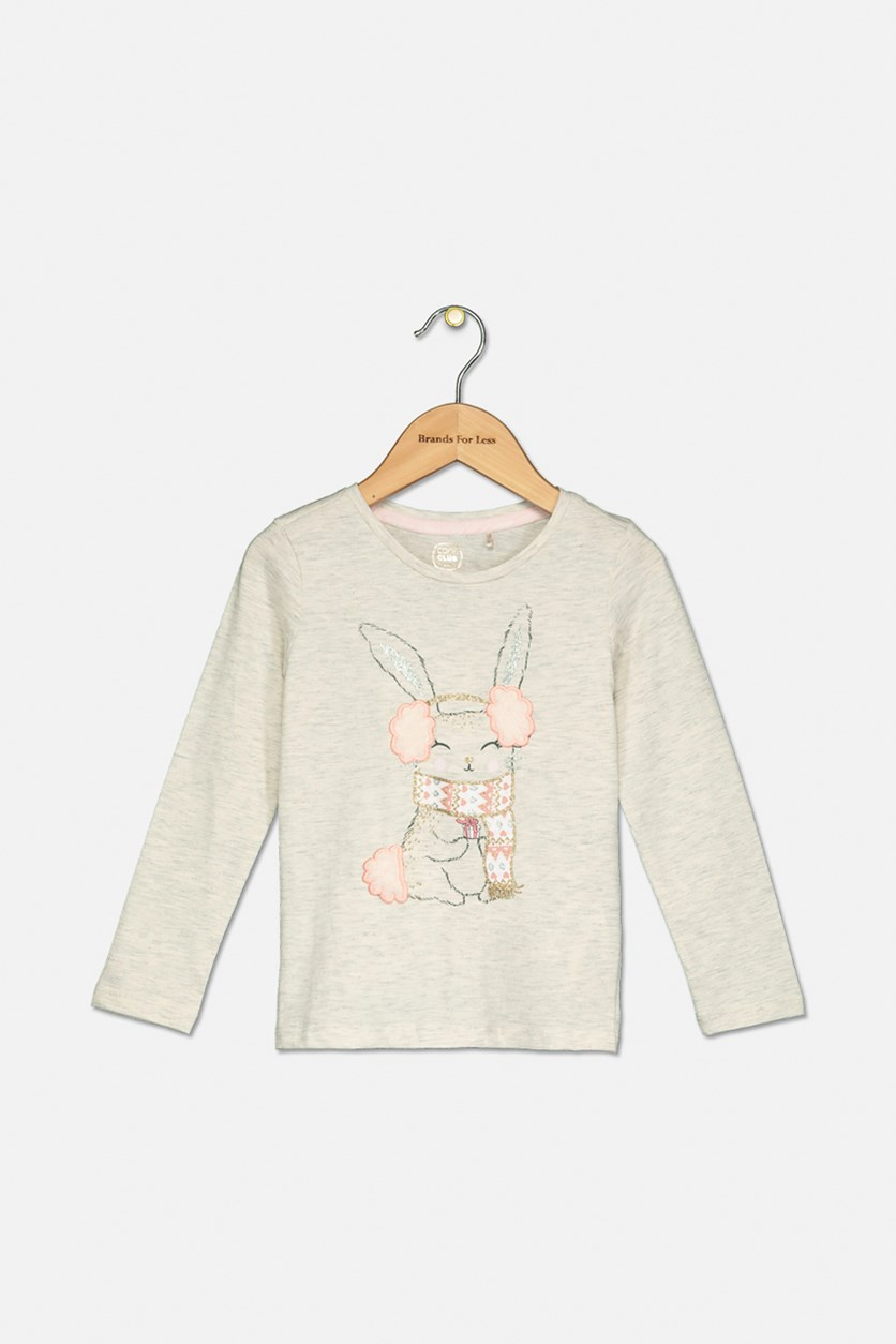 Toddler Girls Glittery Rabbit Print Top, Cream
