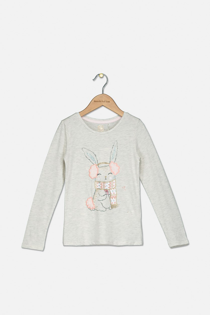 Kids Girls Glitter Rabbit Print Top, Light Beige