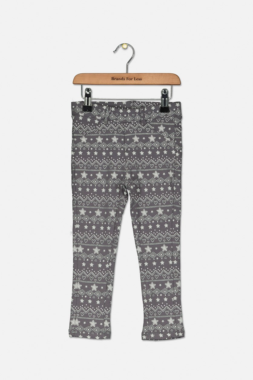 Little Girl's Allover Printed Pants, Grey Combo