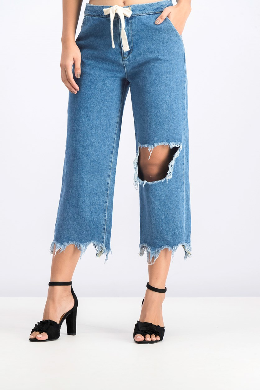 Women's Wide Leg Distressed Jeans, Blue