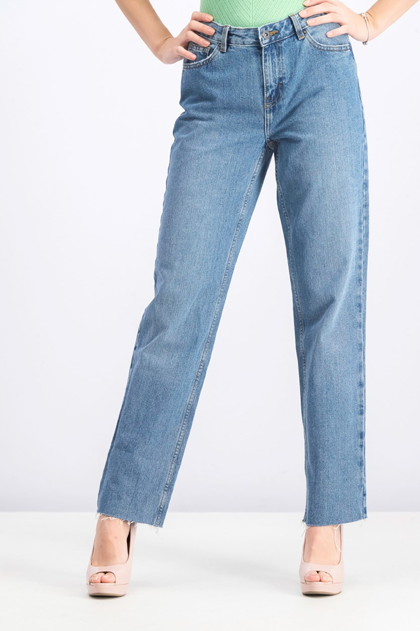 Women's Raw Hem Jeans, Blue Wash