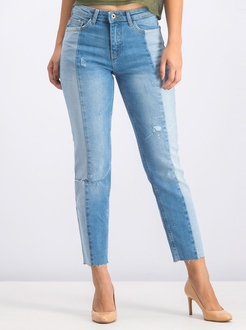 Women's Ripped Denim Jeans, Blue Wash