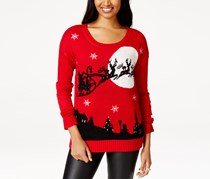 It's Our Time Juniors' Night Before Christmas Light-Up Sweater, Red