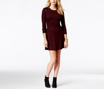 INC International Concepts Fit-and-Flare Sweater Dress, Cranberry