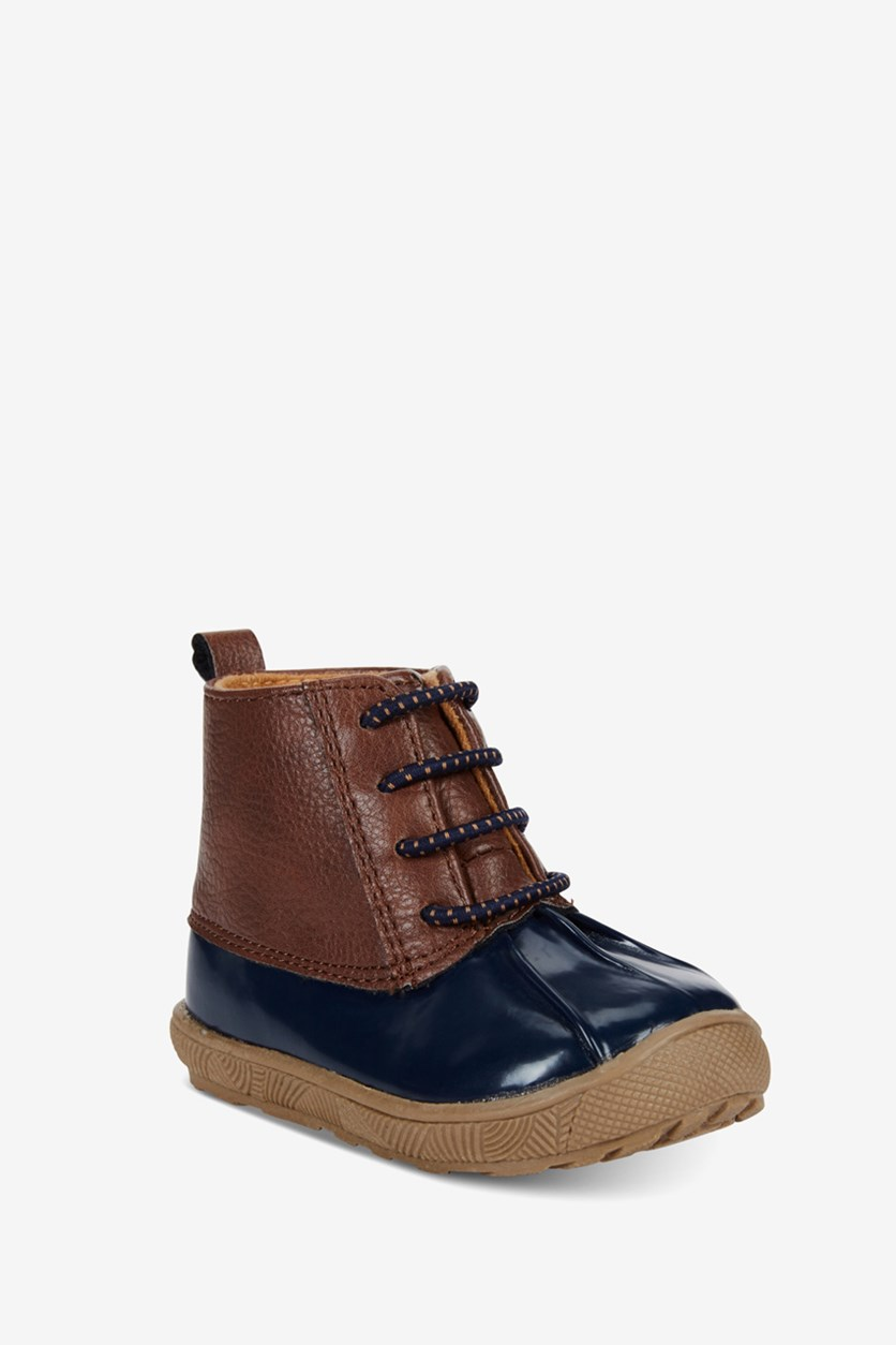 Toddler Boys Duck Boots, Brown/Blue