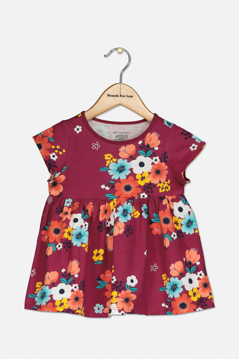 Toddler Girls Floral-Print Cotton Tunic, Autumn Red