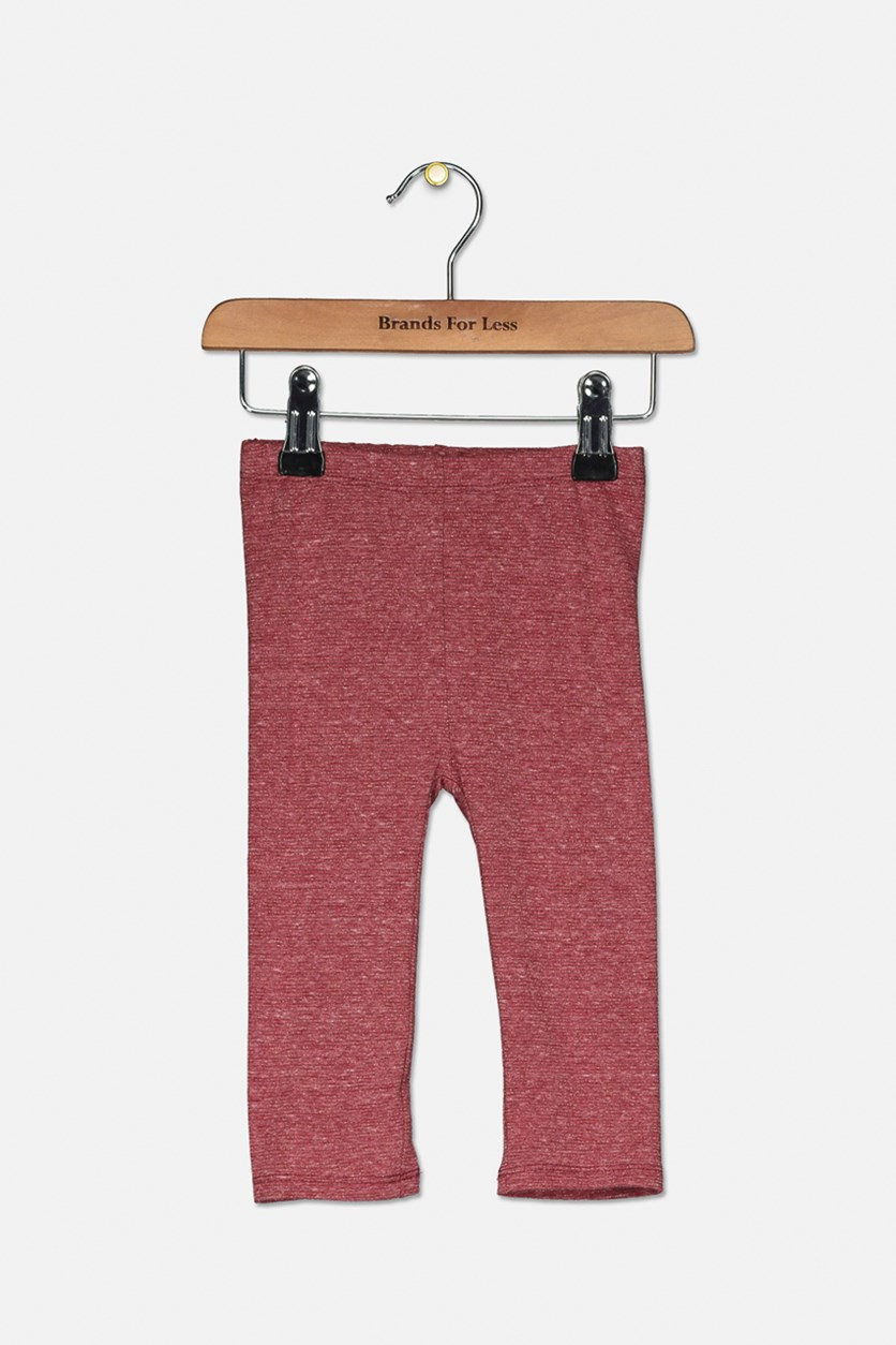 Baby Girl's Metallic Leggings, Autumn Red